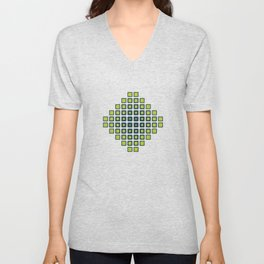 Rounded Squares with a Neon Pop Unisex V-Neck