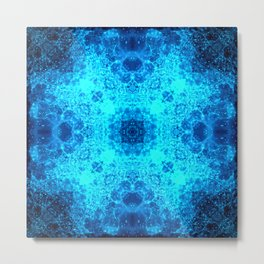 Abstract Blue Lacy Waves SB77 Metal Print