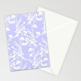 Flat Flower Silhouettes - Cut-Out Contrast in Periwinkle Purple and White Stationery Cards
