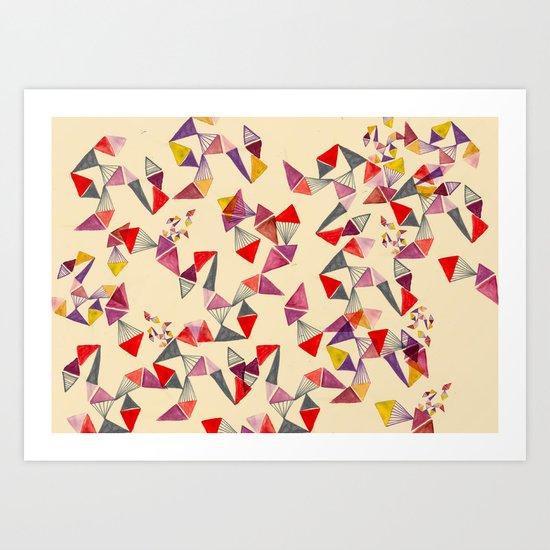 watercolour geometric shapes Art Print