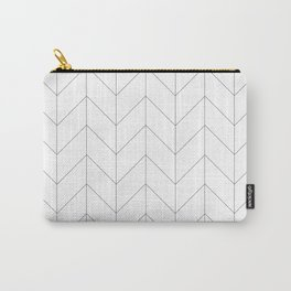 Herringbone Chevron (Thin Black On White) Carry-All Pouch