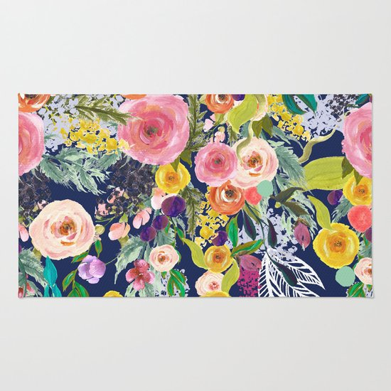 Autumn Blooms Colorful Painted Floral Print Navy Rug By