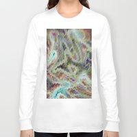monet Long Sleeve T-shirts featuring Monet Style Pastel Abstract by David Pyatt