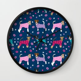 Terriers fox terrier jack russell terrier dog breed art pattern pajamas for dogs Wall Clock
