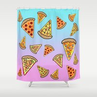 pizza Shower Curtains featuring PIZZA by SteffiMetal