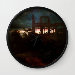 Landscape with castle ruins by Arnold Bocklin Wall Clock