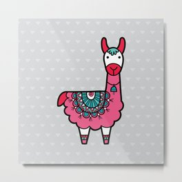 Doodle Llama on Grey Triangle Background Metal Print