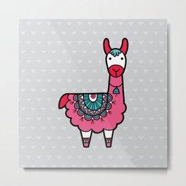 Doodle Llama on Grey Triangle Background Metal Print