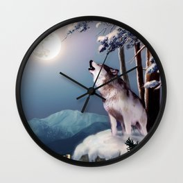 Lone wolf in the shadow of the city of Anchorage  Wall Clock