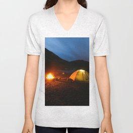 Camping Under a Midnight Sun Unisex V-Neck