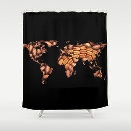 World Map Silhouette - Pecans in a Design Shower Curtain