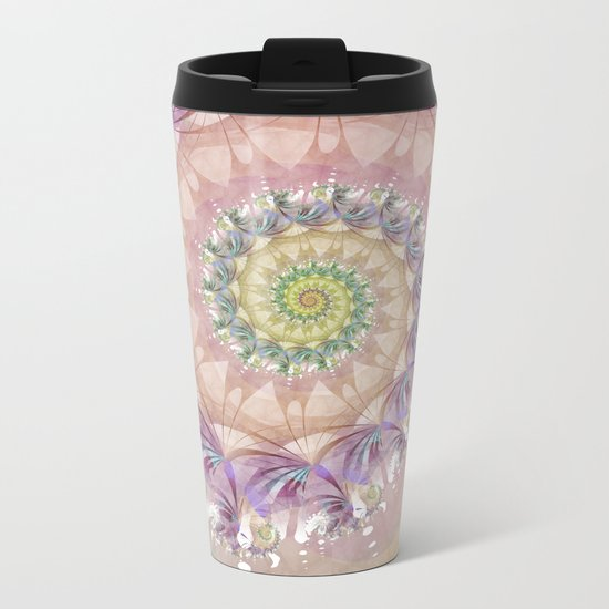 Watercolor Fibonacci Spiral Metal Travel Mug