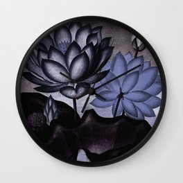 Slate Blue Gray Sacred Egyptian Bean Temple of Flora Wall Clock