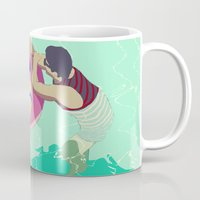pool Mugs featuring Pool by ministryofpixel