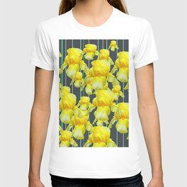 CHARCOAL GREY YELLOW IRIS GARDEN ABSTRACT T-shirt