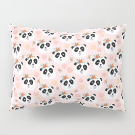 Panda bear with flowers seamless pattern Pillow Sham