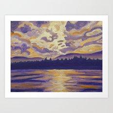 Okanagan Landscape in Purple and Hansa Art Print
