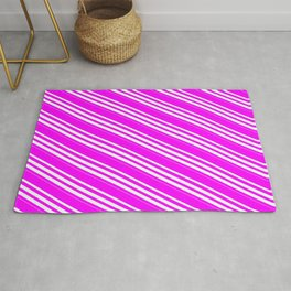 Fuchsia and Mint Cream Colored Lined/Striped Pattern Rug
