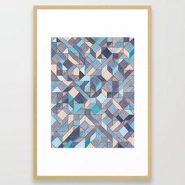 Shifitng Geometric Pattern in Blue Framed Art Print