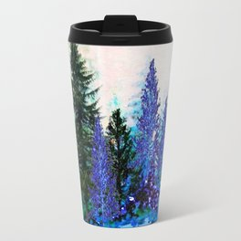 GREY WINTER SNOWFLAKE  CRYSTALS FOREST ART Travel Mug