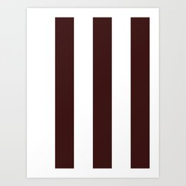 Wide Vertical Stripes - White and Dark Sienna Brown Art Print