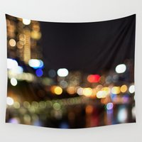 melbourne Wall Tapestries featuring Light Art | Melbourne city (Yarra River) by Carmen Lai Graphics