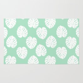 House plant monstera leaf tropical trendy pattern mint and white gender neutral decor Rug