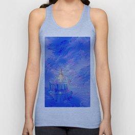 The Teapot Village - Blue Japanese Lighthouse Village Artwork Unisex Tank Top