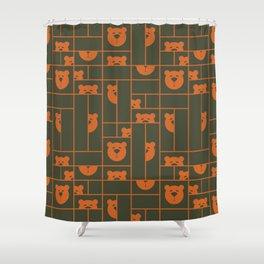 Bear Blocks Burnt Orange And Army Green Shower Curtain