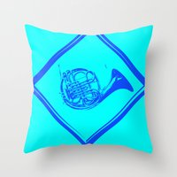 "penis Throw Pillows featuring ""Smurf Penis"" by Jorge Daszkal"