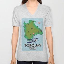 Torquay, devon, vintage style travel poster Unisex V-Neck