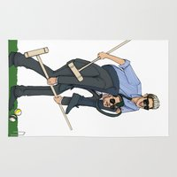 niall Area & Throw Rugs featuring Liam and Niall Play Croquet by Ashley R. Guillory
