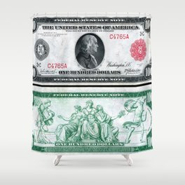 1914 $100 Dollar Bill Federal Reserve Note with a portrait of Benjamin Franklin Shower Curtain