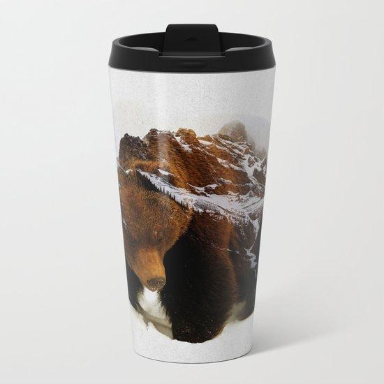 Bear In The Mountains Metal Travel Mug