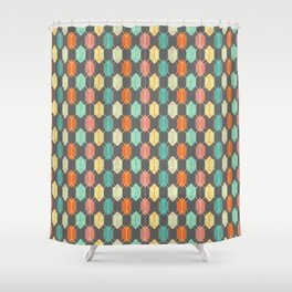 Midcentury Hexagon Argyle on Grey Shower Curtain