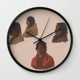 Albert Bierstadt - Studies of Indian Chiefs Made at Fort Laramie Wall Clock