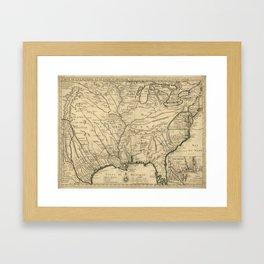 Map of America from Rio Grande River to Hudson River (1718) Framed Art Print