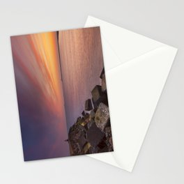 I - Sunset over harbour entrance at sea in IJmuiden, The Netherlands Stationery Cards