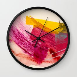 Pink Lemonade: a minimal, colorful abstract mixed media with bold strokes of pinks, and yellow Wall Clock