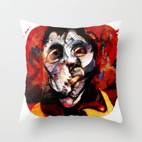 boxing Throw Pillows featuring Boxing Bacon by Genco Demirer