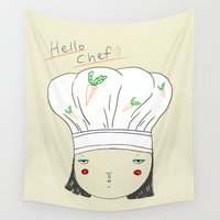 chef Wall Tapestries featuring hello chef by Hello Sunwoo