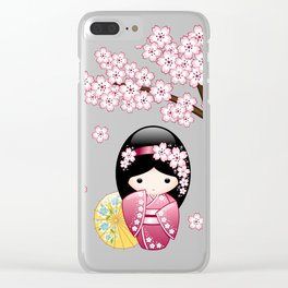 Japanese Spring Kokeshi Doll on Blue Clear iPhone Case