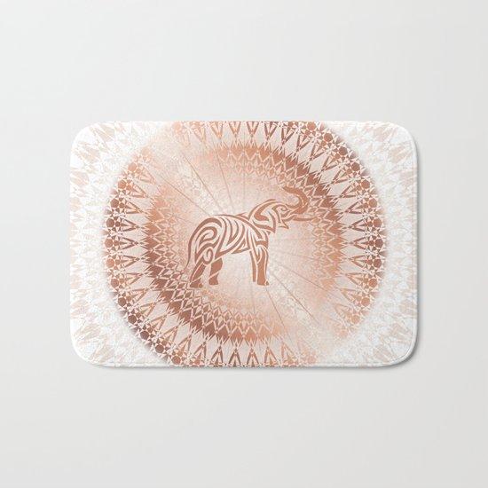Rose Gold Elefant Mandala Bath Mat