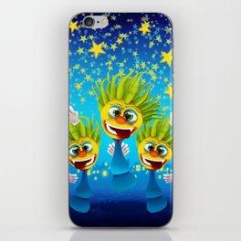 Cartoony Characters Under Starry Night iPhone Skin