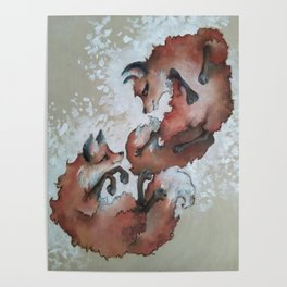 Foxes, snow day Poster