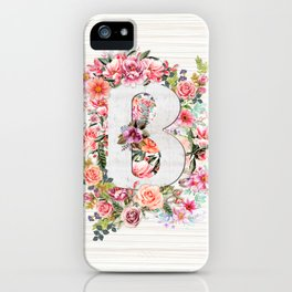 Initial Letter B Watercolor Flower iPhone Case