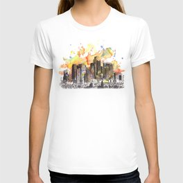 Los Angeles Cityscape Skyline Painting T-shirt