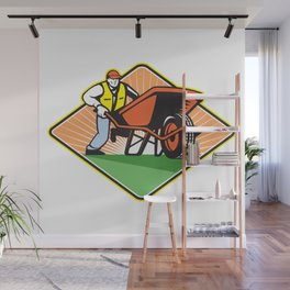 Gardener Pushing Wheelbarrow Retro Wall Mural