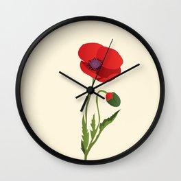 Poppy flower Wall Clock