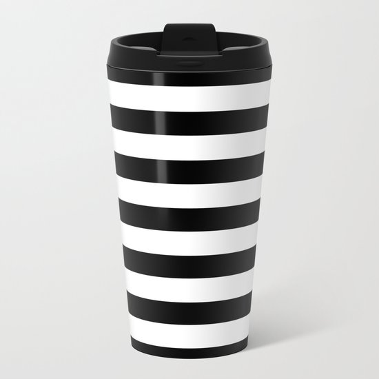 Midnight Black and White Stripes Metal Travel Mug